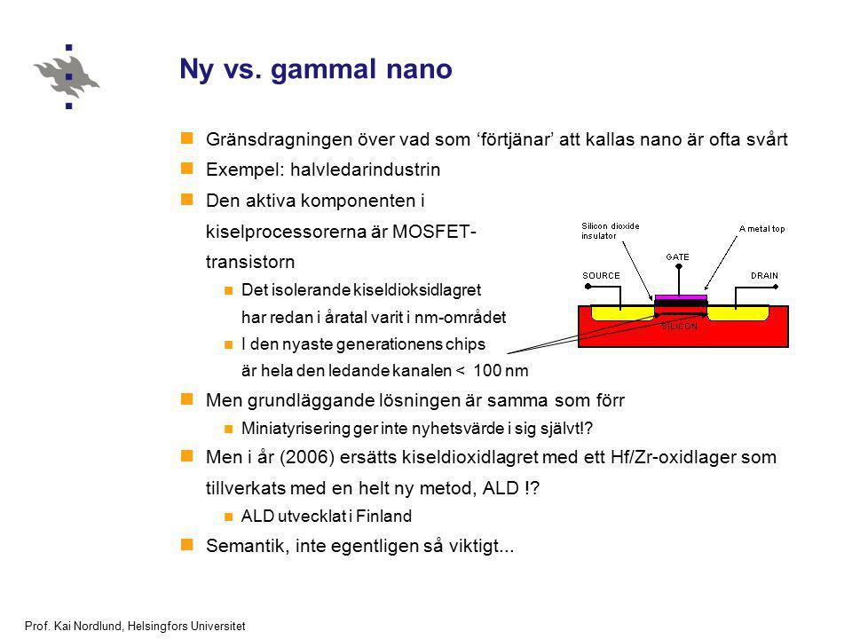 Prof. Kai Nordlund, Helsingfors Universitet Ny vs. gammal nano Gränsdragningen över vad som 'förtjänar' att kallas nano är ofta svårt Exempel: halvled