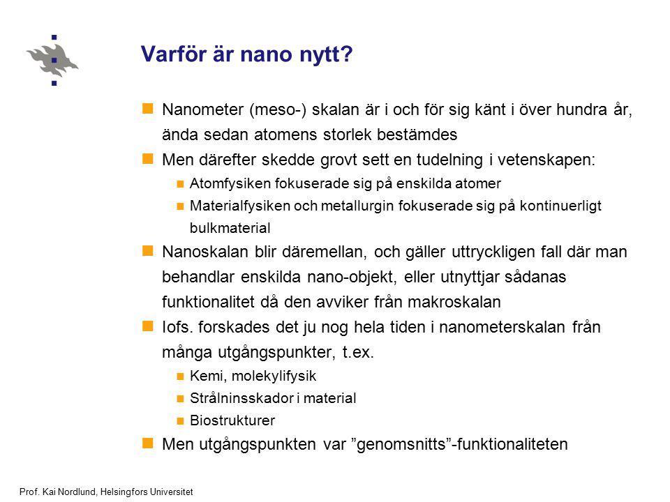Prof. Kai Nordlund, Helsingfors Universitet Varför är nano nytt? Nanometer (meso-) skalan är i och för sig känt i över hundra år, ända sedan atomens s