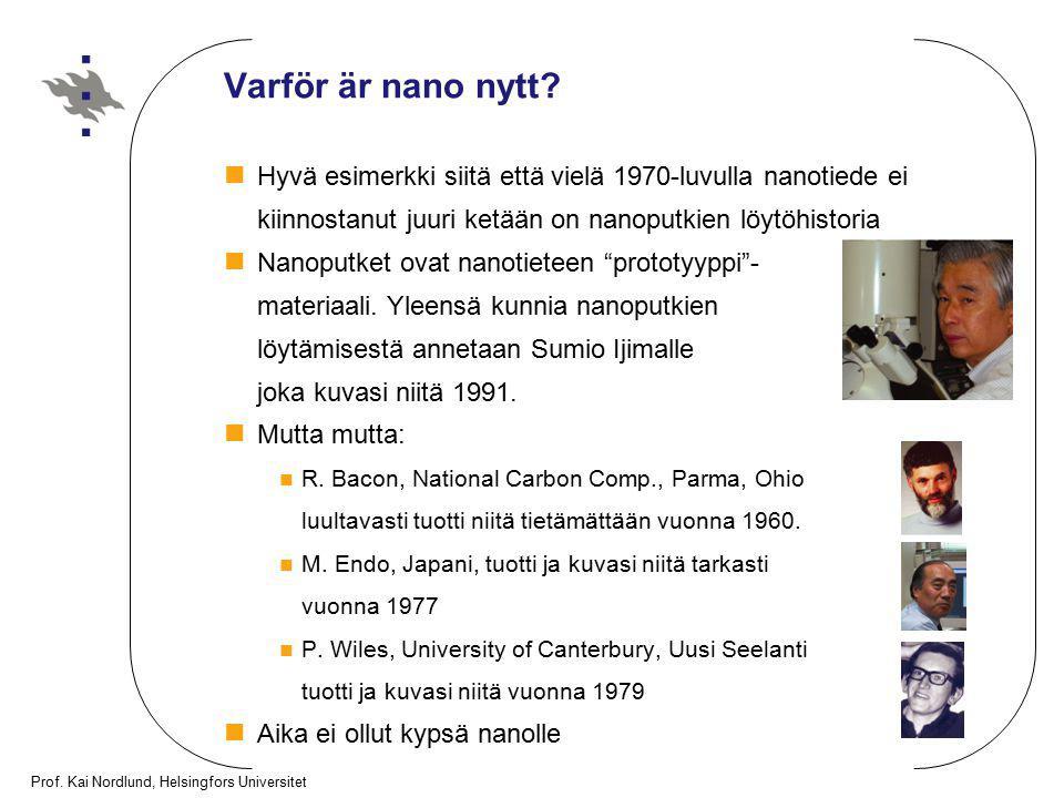 Prof. Kai Nordlund, Helsingfors Universitet Varför är nano nytt? Hyvä esimerkki siitä että vielä 1970-luvulla nanotiede ei kiinnostanut juuri ketään o