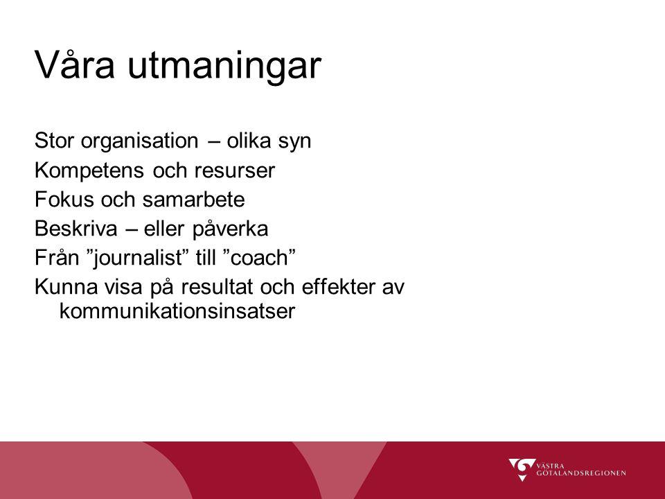 """Våra utmaningar Stor organisation – olika syn Kompetens och resurser Fokus och samarbete Beskriva – eller påverka Från """"journalist"""" till """"coach"""" Kunna"""