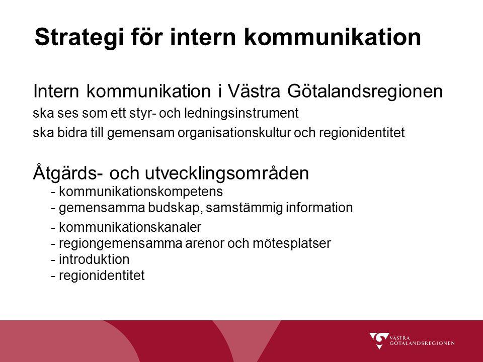 Strategi för intern kommunikation Intern kommunikation i Västra Götalandsregionen ska ses som ett styr- och ledningsinstrument ska bidra till gemensam