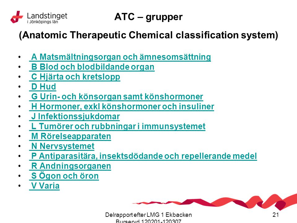 Delrapport efter LMG 1 Ekbacken Burseryd 120201-120307 21 ATC – grupper (Anatomic Therapeutic Chemical classification system) A Matsmältningsorgan och