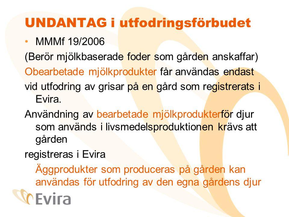 UNDANTAG i utfodringsförbudet MMMf 19/2006 (Berör mjölkbaserade foder som gården anskaffar) Obearbetade mjölkprodukter får användas endast vid utfodring av grisar på en gård som registrerats i Evira.