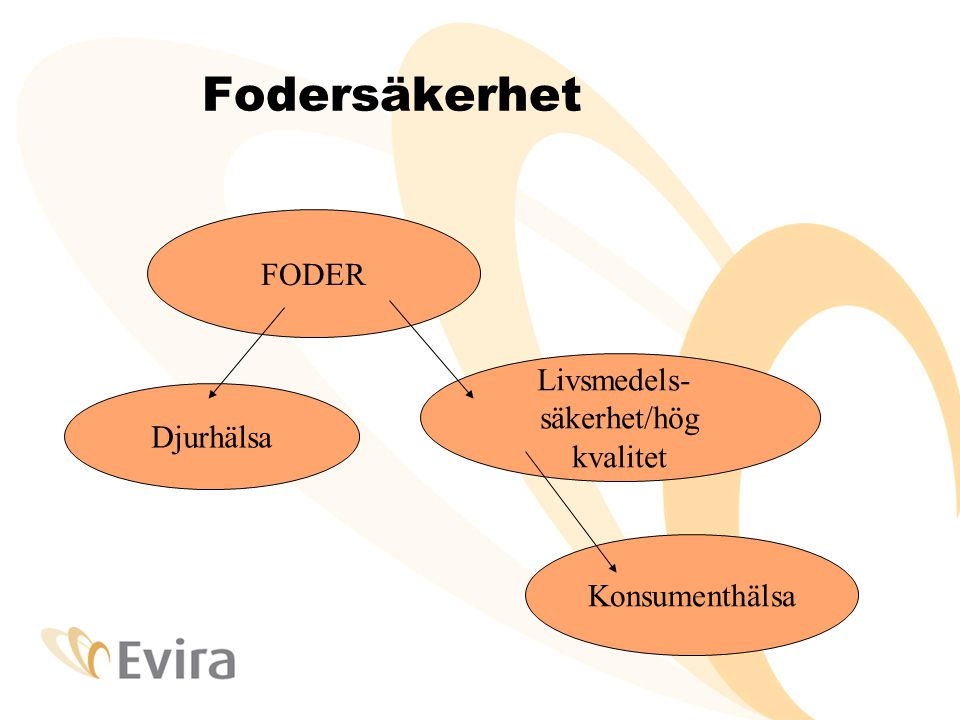 Fodersäkerhet FODER Djurhälsa Livsmedels- säkerhet/hög kvalitet Konsumenthälsa