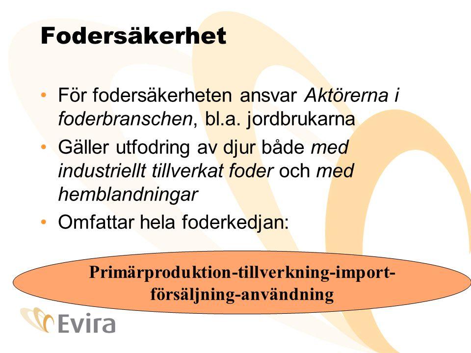 Fodersäkerhet För fodersäkerheten ansvar Aktörerna i foderbranschen, bl.a.