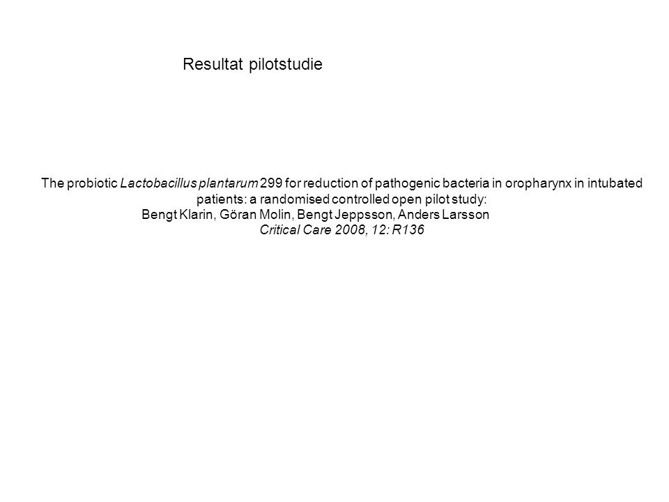 The probiotic Lactobacillus plantarum 299 for reduction of pathogenic bacteria in oropharynx in intubated patients: a randomised controlled open pilot