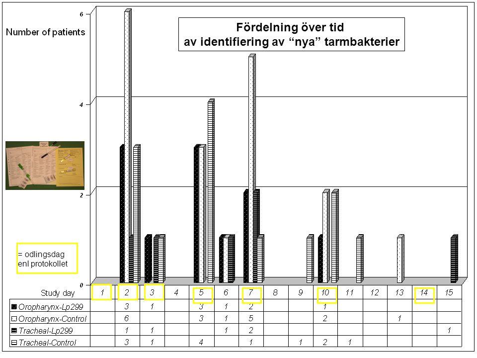 Fördelning över tid av identifiering av nya tarmbakterier = odlingsdag enl protokollet