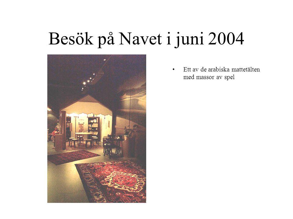 Besök på Navet i juni 2004 Ett av de arabiska mattetälten med massor av spel