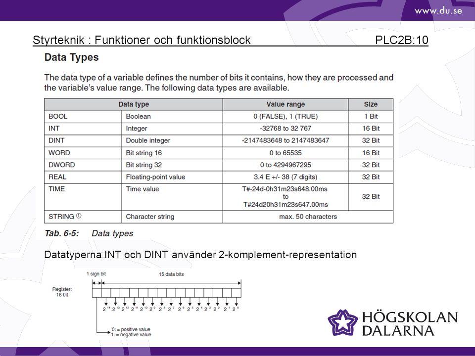 Styrteknik : Funktioner och funktionsblock PLC2B:10 Datatyperna INT och DINT använder 2-komplement-representation