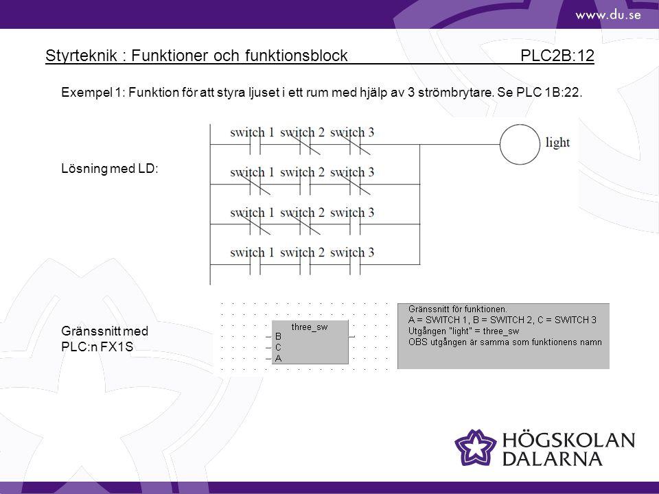 Styrteknik : Funktioner och funktionsblock PLC2B:12 Exempel 1: Funktion för att styra ljuset i ett rum med hjälp av 3 strömbrytare. Se PLC 1B:22. Lösn
