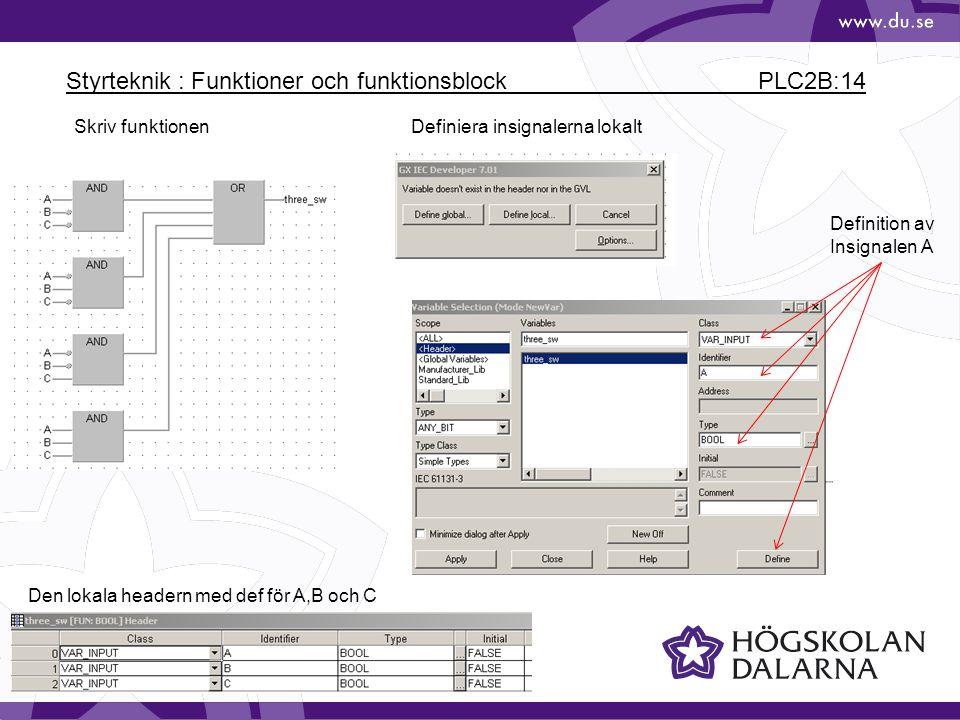 Styrteknik : Funktioner och funktionsblock PLC2B:14 Skriv funktionenDefiniera insignalerna lokalt Definition av Insignalen A Den lokala headern med de