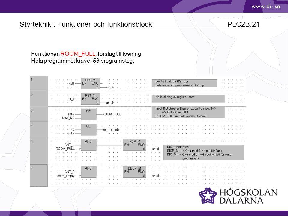 Styrteknik : Funktioner och funktionsblock PLC2B:21 Funktionen ROOM_FULL, förslag till lösning. Hela programmet kräver 53 programsteg.