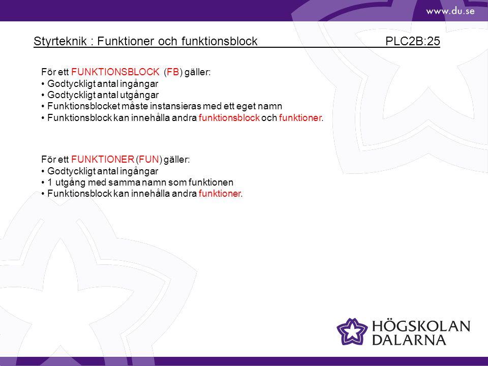 Styrteknik : Funktioner och funktionsblock PLC2B:25 För ett FUNKTIONSBLOCK (FB) gäller: Godtyckligt antal ingångar Godtyckligt antal utgångar Funktion