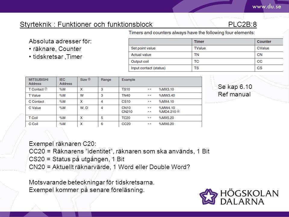 """Styrteknik : Funktioner och funktionsblock PLC2B:8 Absoluta adresser för: räknare, Counter tidskretsar,Timer Exempel räknaren C20: CC20 = Räknarens """"i"""
