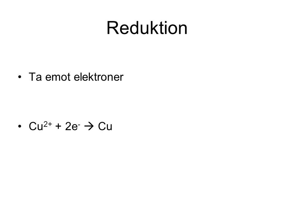 Redoxreaktion Oxidation och reduktion sker alltid samtidigt Fe +Cu 2+ + SO 4 2-  Cu + Fe 2+ + SO 4 2- Ädla metaller tar elektroner från oädla