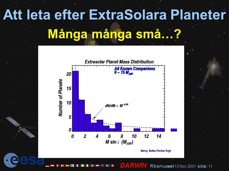 DARWIN Riksmuseet 13 Nov 2001 sida : 11 Att leta efter ExtraSolara Planeter Många många små…?
