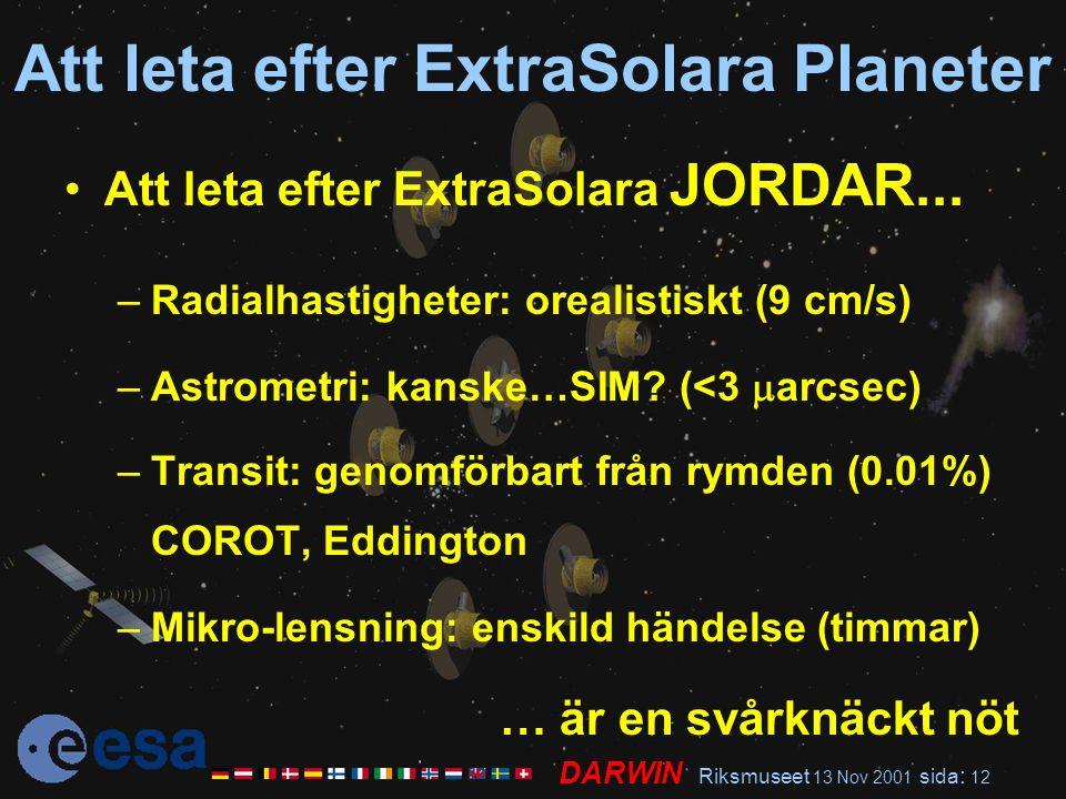 DARWIN Riksmuseet 13 Nov 2001 sida : 12 Att leta efter ExtraSolara Planeter Att leta efter ExtraSolara JORDAR... –Radialhastigheter: orealistiskt (9 c