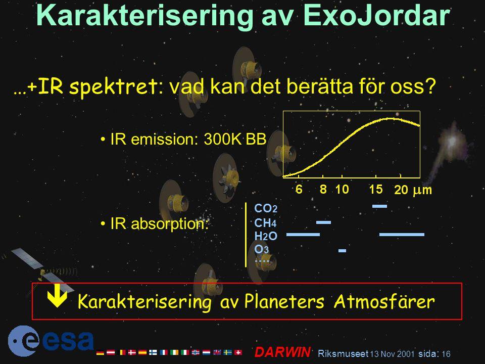 DARWIN Riksmuseet 13 Nov 2001 sida : 16 Karakterisering av ExoJordar …+IR spektret : vad kan det berätta för oss? CO 2 CH 4 H 2 O O 3 …. IR emission: