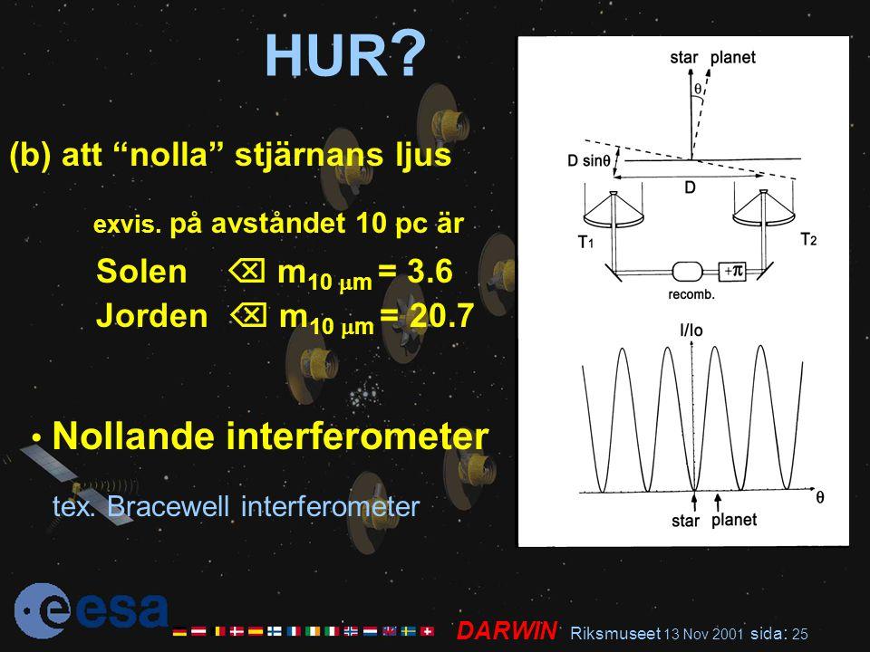 """DARWIN Riksmuseet 13 Nov 2001 sida : 25 HUR ? (b) att """"nolla"""" stjärnans ljus exvis. på avståndet 10 pc är Solen  m 10  m = 3.6 Jorden  m 10  m = 2"""