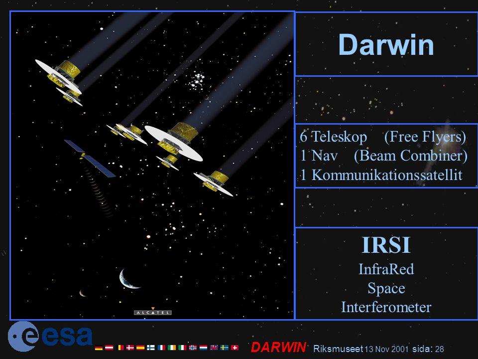 DARWIN Riksmuseet 13 Nov 2001 sida : 28 Darwin 6 Teleskop (Free Flyers) 1 Nav (Beam Combiner) 1 Kommunikationssatellit IRSI InfraRed Space Interferometer