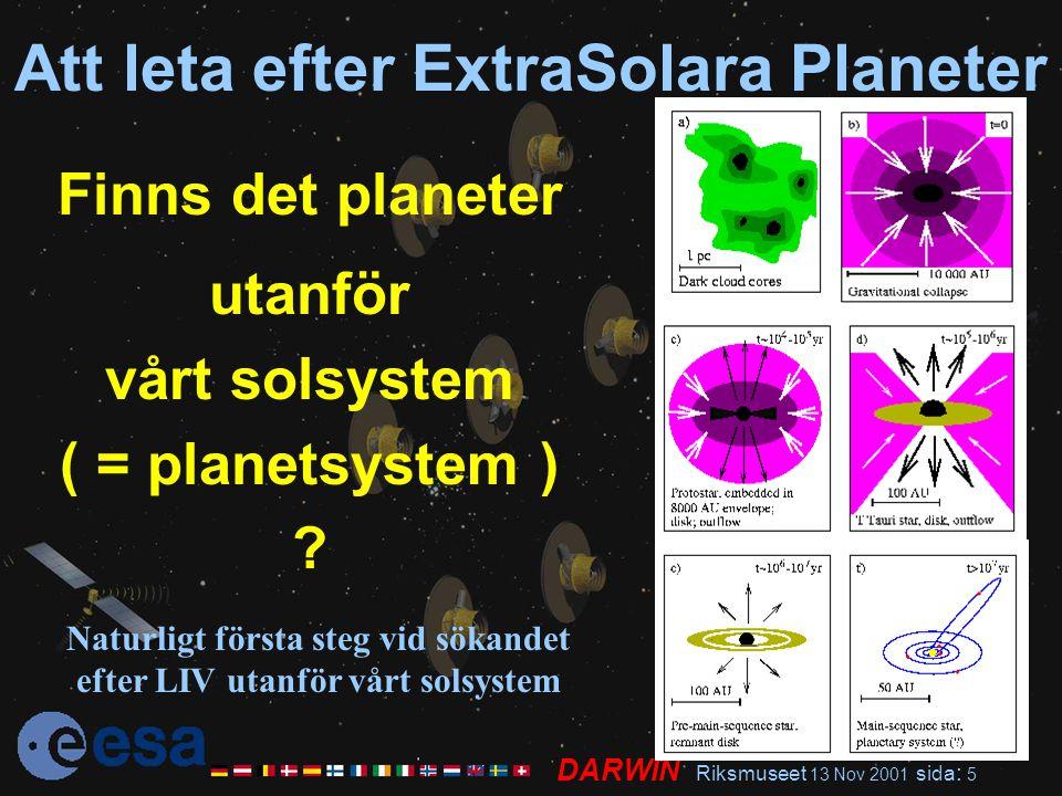 DARWIN Riksmuseet 13 Nov 2001 sida : 5 Att leta efter ExtraSolara Planeter Finns det planeter utanför vårt solsystem ( = planetsystem ) ? Naturligt fö