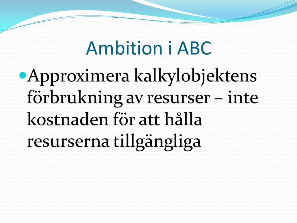 Ambition i ABC Approximera kalkylobjektens förbrukning av resurser – inte kostnaden för att hålla resurserna tillgängliga