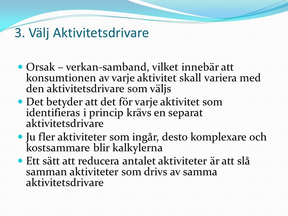 3. Välj Aktivitetsdrivare Orsak – verkan-samband, vilket innebär att konsumtionen av varje aktivitet skall variera med den aktivitetsdrivare som väljs