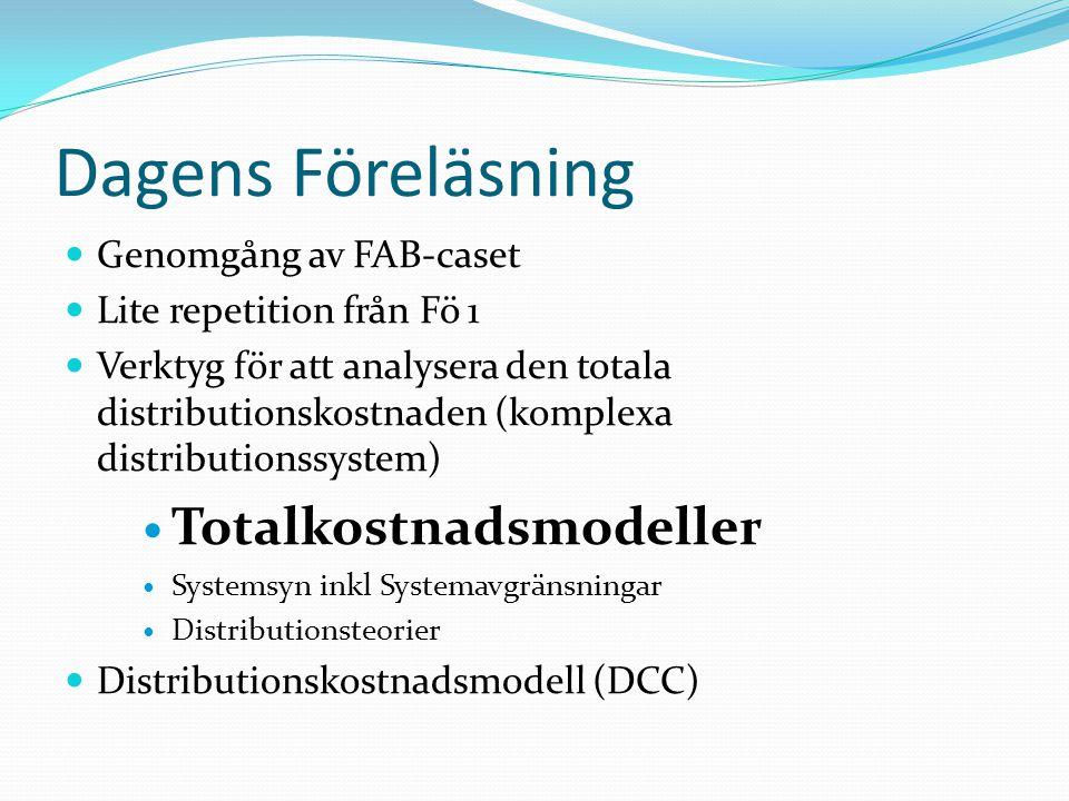 Total Kostnaden Att hitta en TK-modell som är relevant för den situation som skall analyseras är viktigt.