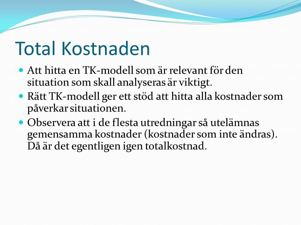 Totalkostnadsmodeller Modell 1 (Abrahamsson och Aronsson, 1999) Modell 2 (Coyle, Bardi, Langley, 1992) Modell 3 (Daganzo, 1999) Modell 4 (Persson och Virum, 1996) Modell 5 (Lewis, Cullington, Steele, 1956) Modell 6 (Delaney, 2000, bygger på Alford & Bangs (1955), Heskett et al (1973)) Modell 7 (Harrison, 1999) Modell 8 (Friedman, 1997) Modell 9 (HRFOCUS, Dreyer, 2000) Modell 10 (Alfakonsult, löpande projekt) Modell 11 (Christopher, 1998)