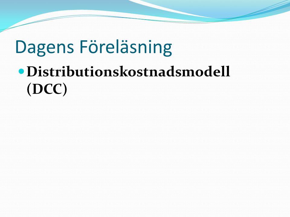 DCC - Distribution Chain Costing Steg 1: Beskriv och analysera beslutssituationen Steg 2: Avgränsa systemet, definiera och beskriv det studerade systemet övergripande Steg 3: Dela upp i delsystem Steg 4: Beskriv delsystemen i aktiviteter Steg 5: Identifiera alla kostnaderna i de olika delsystemen Steg 6: Ta fram delsystemens totalkostnader Steg 7: Ta fram systemets totalkostnad Steg 8: Bestäm vilka kostnader som är direkta Steg 9: Av resterande kostnader, vilka är de stora kostnadsposterna Steg 10: Försök att fördela kostnaderna i de delsystem med låga totalkostnader på enklaste och rättvisaste sätt Steg 11: Identifiera resurser på respektive aktivitet och beräkna aktivitetskostnaden (stora kostnadsposterna) Steg 12: Hitta kostnadsdrivare för dessa Steg 13: Beräkna kalkylobjektets aktivitetskostnad Steg 14: Summera delsystemets aktivitetskostnader för kalkylobjektet Steg 15: Summera systemens kostnader för kalkylobjektet