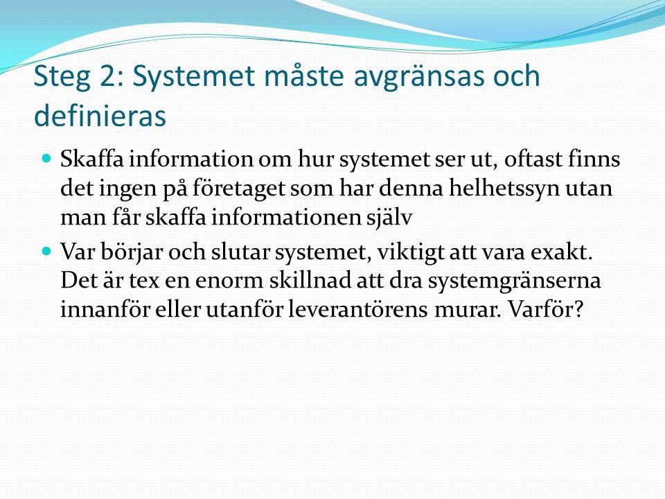 Steg 2: Avgränsa systemet, definiera och beskriv det studerade systemet övergripande Materialflödesmässigt är det ofta inga stora problem, man skall dock vara medveten om konsekvenserna.