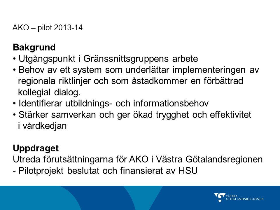 AKO – pilot 2013-14 Bakgrund Utgångspunkt i Gränssnittsgruppens arbete Behov av ett system som underlättar implementeringen av regionala riktlinjer oc