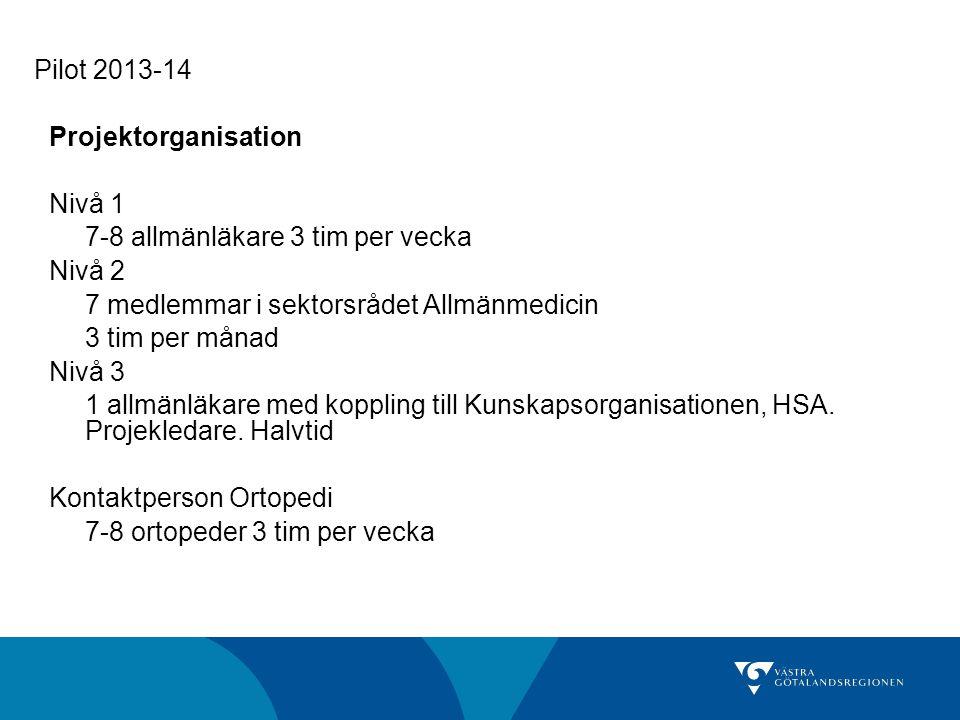 Pilot 2013-14 Projektorganisation Nivå 1 7-8 allmänläkare 3 tim per vecka Nivå 2 7 medlemmar i sektorsrådet Allmänmedicin 3 tim per månad Nivå 3 1 all