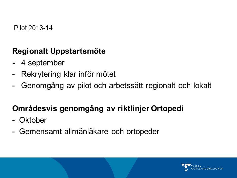 Pilot 2013-14 Regionalt Uppstartsmöte - 4 september -Rekrytering klar inför mötet -Genomgång av pilot och arbetssätt regionalt och lokalt Områdesvis g
