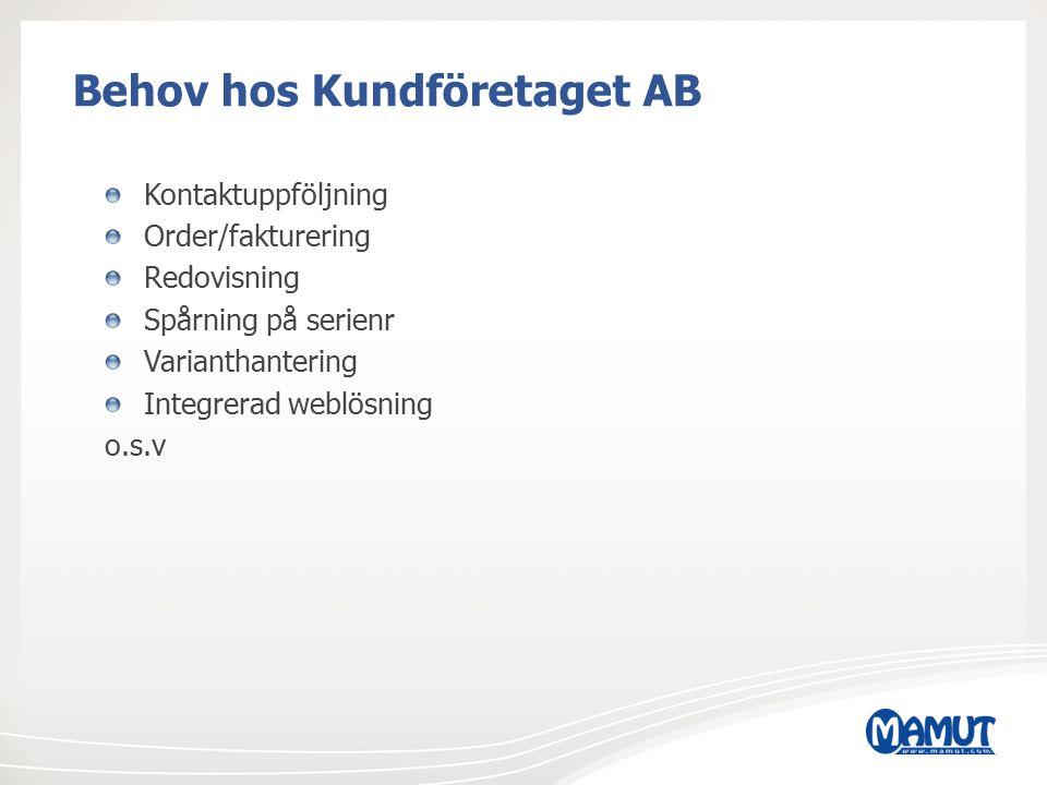 Behov hos Kundföretaget AB Kontaktuppföljning Order/fakturering Redovisning Spårning på serienr Varianthantering Integrerad weblösning o.s.v