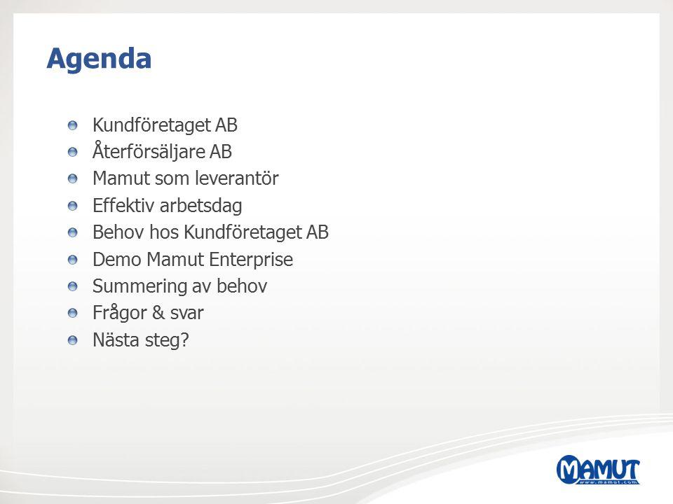 Agenda Kundföretaget AB Återförsäljare AB Mamut som leverantör Effektiv arbetsdag Behov hos Kundföretaget AB Demo Mamut Enterprise Summering av behov