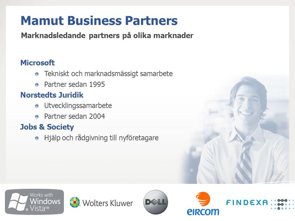 Mamut Business Partners Microsoft Tekniskt och marknadsmässigt samarbete Partner sedan 1995 Norstedts Juridik Utvecklingssamarbete Partner sedan 2004