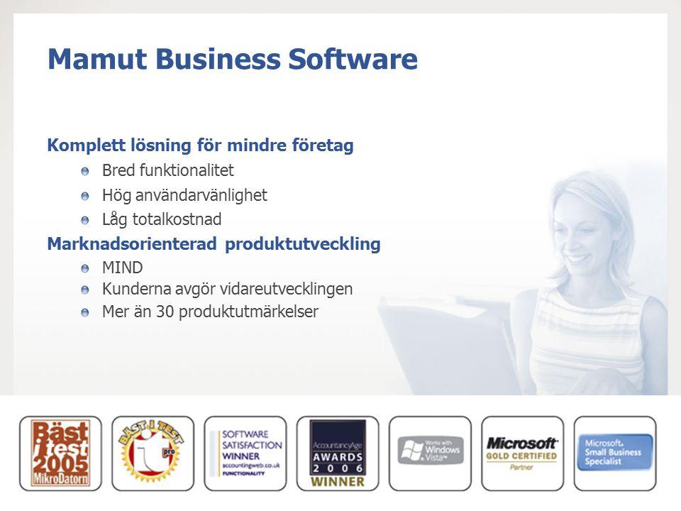 Mamut Business Software Komplett lösning för mindre företag Bred funktionalitet Hög användarvänlighet Låg totalkostnad Marknadsorienterad produktutvec