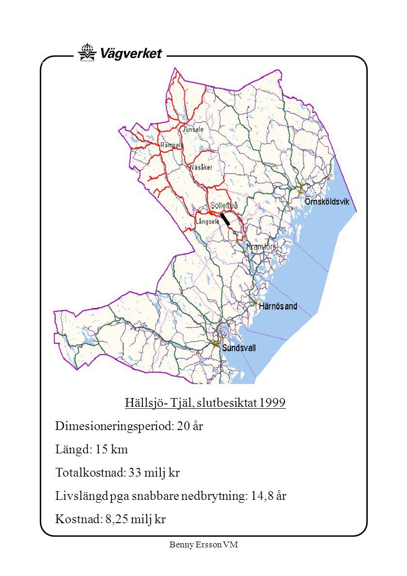 Benny Ersson VM Hällsjö- Tjäl, slutbesiktat 1999 Dimesioneringsperiod: 20 år Längd: 15 km Totalkostnad: 33 milj kr Livslängd pga snabbare nedbrytning: