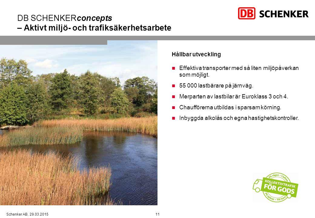 11Schenker AB, 29.03.2015 DB SCHENKERconcepts – Aktivt miljö- och trafiksäkerhetsarbete Hållbar utveckling Effektiva transporter med så liten miljöpåverkan som möjligt.