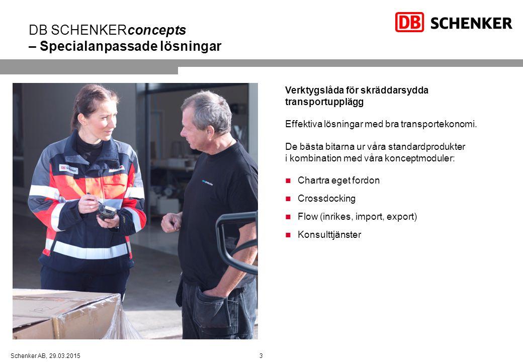 3Schenker AB, 29.03.2015 DB SCHENKERconcepts – Specialanpassade lösningar Verktygslåda för skräddarsydda transportupplägg Effektiva lösningar med bra transportekonomi.