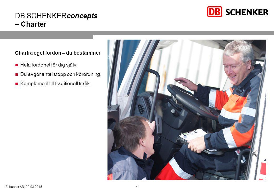 4Schenker AB, 29.03.2015 DB SCHENKERconcepts – Charter Chartra eget fordon – du bestämmer Hela fordonet för dig själv.
