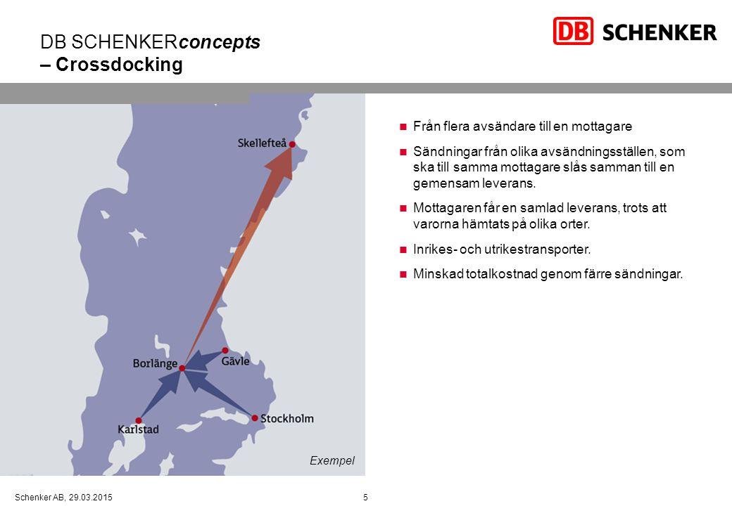 5Schenker AB, 29.03.2015 DB SCHENKERconcepts – Crossdocking Från flera avsändare till en mottagare Sändningar från olika avsändningsställen, som ska till samma mottagare slås samman till en gemensam leverans.