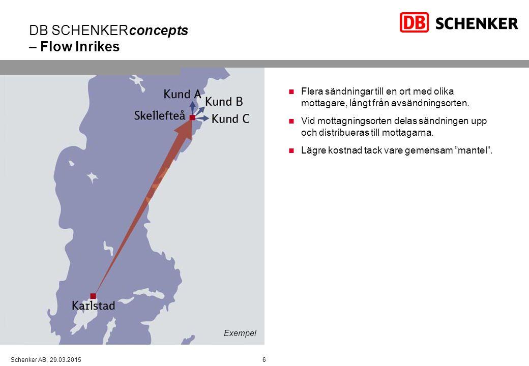 6Schenker AB, 29.03.2015 Flera sändningar till en ort med olika mottagare, långt från avsändningsorten.
