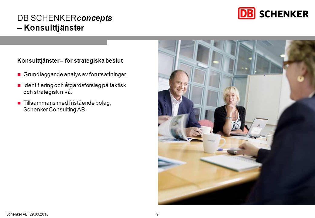 9Schenker AB, 29.03.2015 DB SCHENKERconcepts – Konsulttjänster Konsulttjänster – för strategiska beslut Grundläggande analys av förutsättningar.