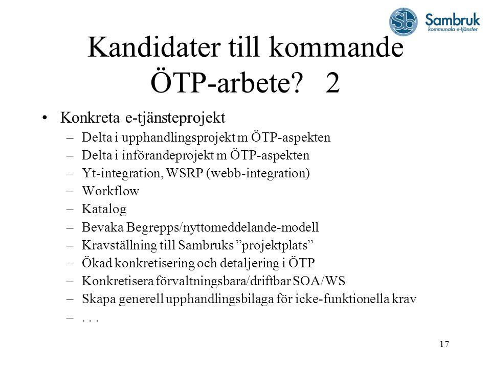 17 Kandidater till kommande ÖTP-arbete.