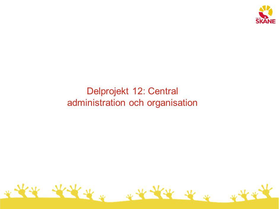 Delprojekt 12: Central administration och organisation