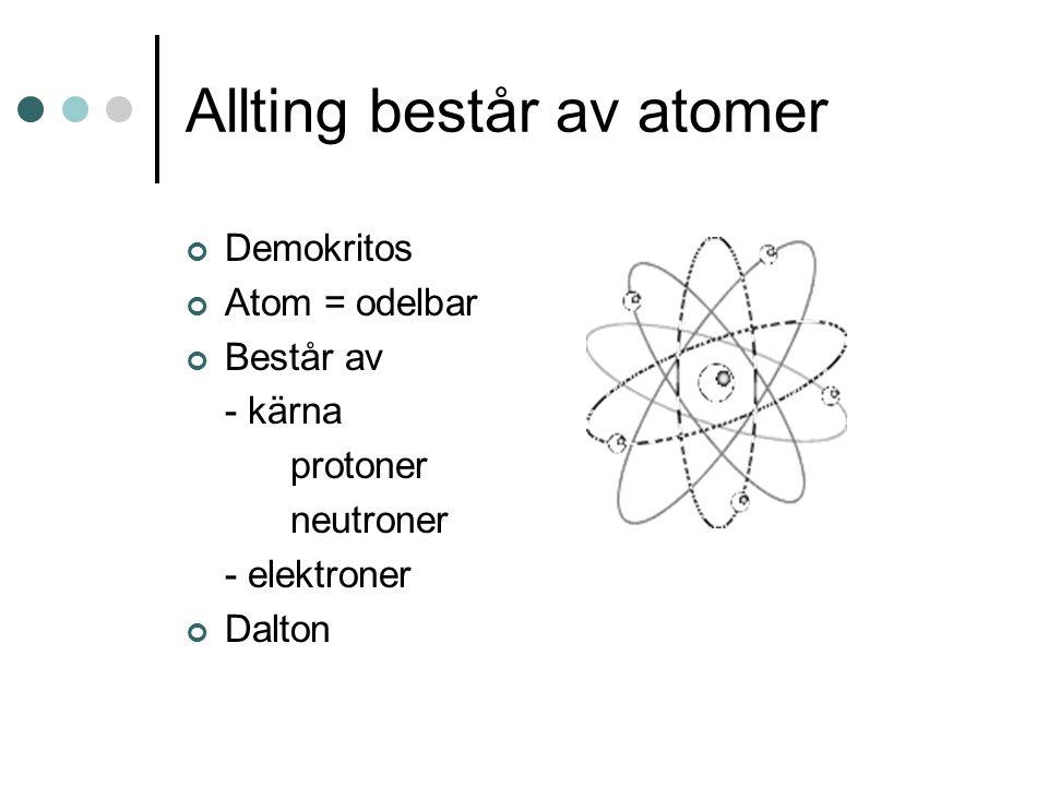Allting består av atomer Demokritos Atom = odelbar Består av - kärna protoner neutroner - elektroner Dalton