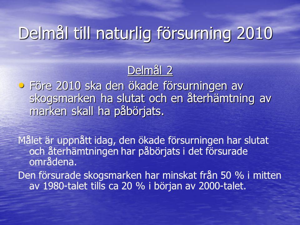 Delmål till naturlig försurning 2010 Delmål 2 Före 2010 ska den ökade försurningen av skogsmarken ha slutat och en återhämtning av marken skall ha påbörjats.