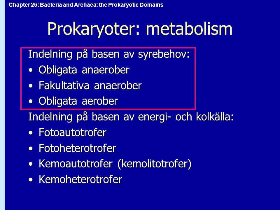 Chapter 26: Bacteria and Archaea: the Prokaryotic Domains Prokaryoter: metabolism Indelning på basen av syrebehov: Obligata anaeroberObligata anaerober Fakultativa anaeroberFakultativa anaerober Obligata aeroberObligata aerober Indelning på basen av energi- och kolkälla: FotoautotroferFotoautotrofer FotoheterotroferFotoheterotrofer Kemoautotrofer (kemolitotrofer)Kemoautotrofer (kemolitotrofer) KemoheterotroferKemoheterotrofer